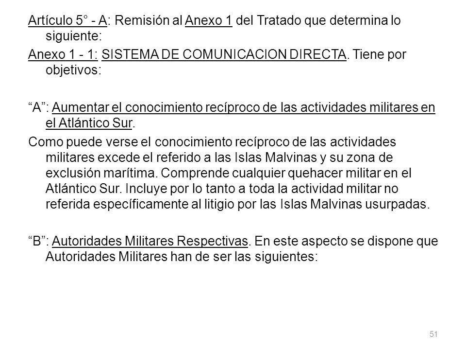 Artículo 5° - A: Remisión al Anexo 1 del Tratado que determina lo siguiente: Anexo 1 - 1: SISTEMA DE COMUNICACION DIRECTA.