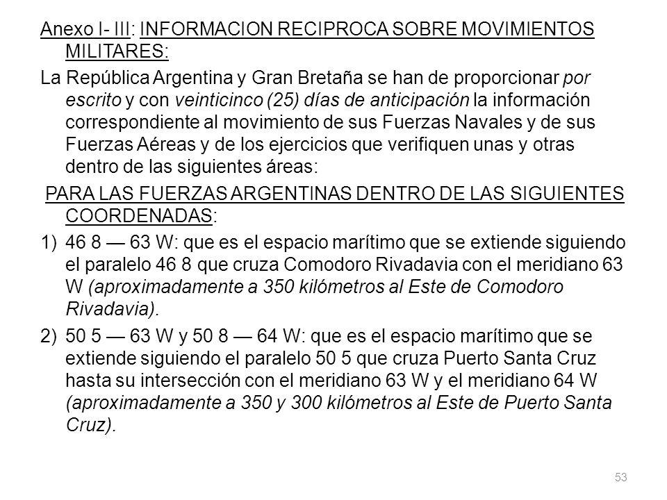 Anexo I- III: INFORMACION RECIPROCA SOBRE MOVIMIENTOS MILITARES: La República Argentina y Gran Bretaña se han de proporcionar por escrito y con veinti