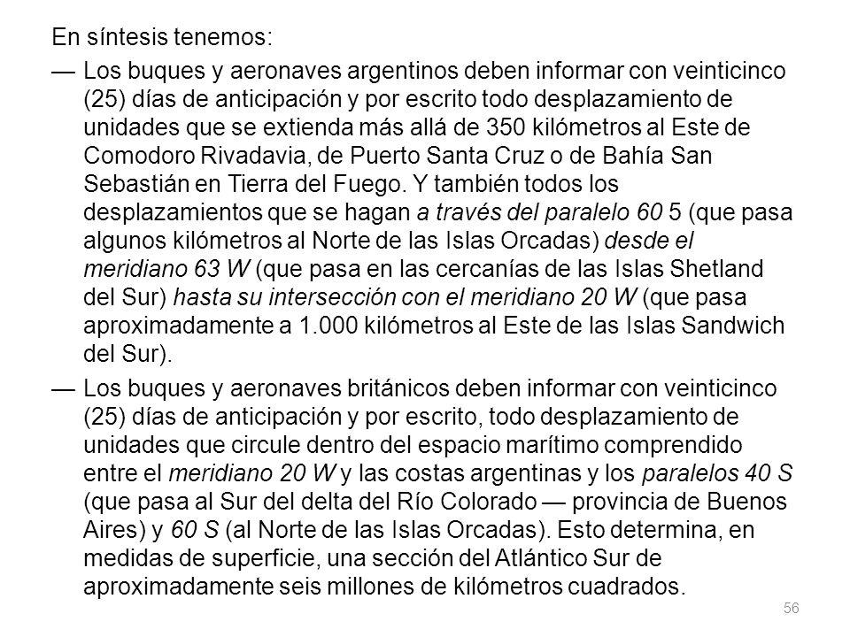 En síntesis tenemos: Los buques y aeronaves argentinos deben informar con veinticinco (25) días de anticipación y por escrito todo desplazamiento de unidades que se extienda más allá de 350 kilómetros al Este de Comodoro Rivadavia, de Puerto Santa Cruz o de Bahía San Sebastián en Tierra del Fuego.