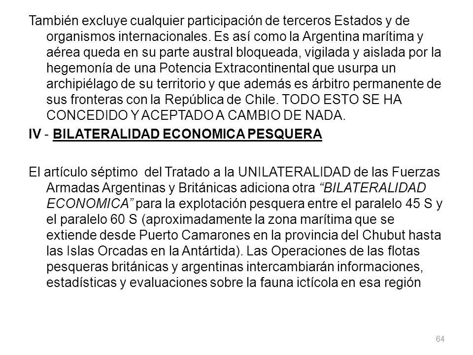También excluye cualquier participación de terceros Estados y de organismos internacionales. Es así como la Argentina marítima y aérea queda en su par