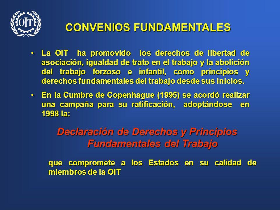 La OIT ha promovido los derechos de libertad de asociación, igualdad de trato en el trabajo y la abolición del trabajo forzoso e infantil, como princi