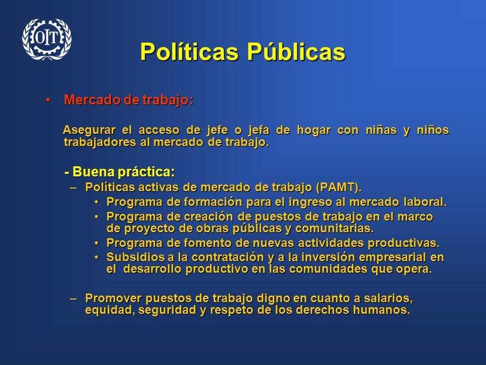 Políticas Públicas Mercado de trabajo:Mercado de trabajo: Asegurar el acceso de jefe o jefa de hogar con niñas y niños trabajadores al mercado de trab