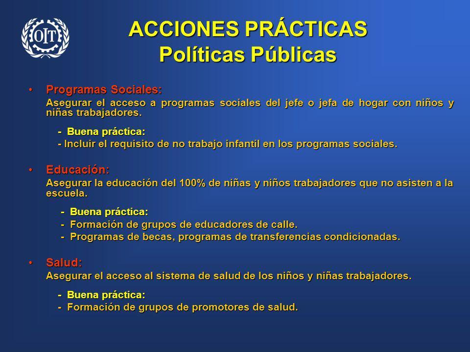 ACCIONES PRÁCTICAS Políticas Públicas Programas Sociales:Programas Sociales: Asegurar el acceso a programas sociales del jefe o jefa de hogar con niño