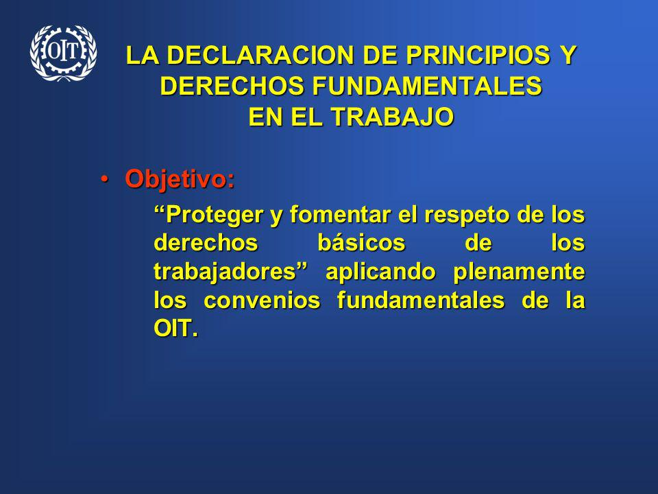 LA DECLARACION DE PRINCIPIOS Y DERECHOS FUNDAMENTALES EN EL TRABAJO Objetivo:Objetivo: Proteger y fomentar el respeto de los derechos básicos de los t