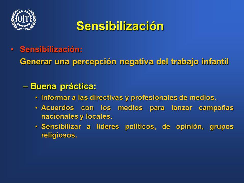 Sensibilización Sensibilización:Sensibilización: Generar una percepción negativa del trabajo infantil –Buena práctica: Informar a las directivas y pro