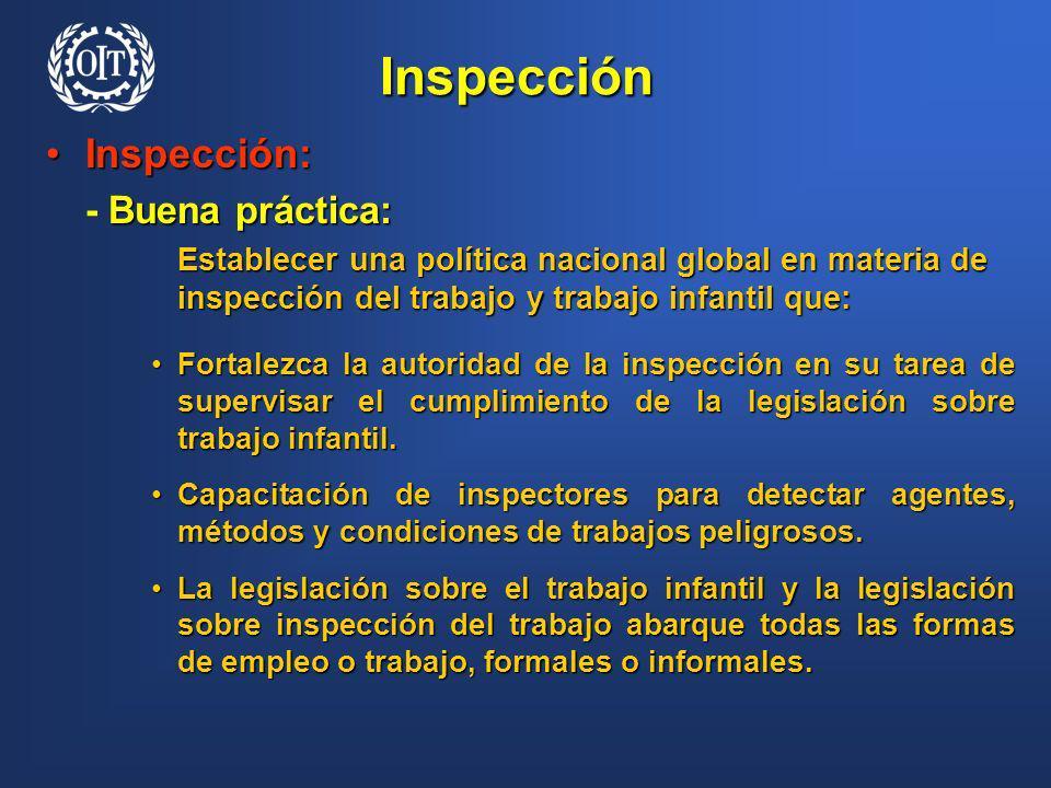 Inspección Inspección:Inspección: Buena práctica: - Buena práctica: Establecer una política nacional global en materia de inspección del trabajo y tra