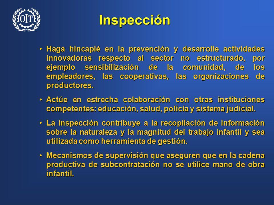 Inspección Haga hincapié en la prevención y desarrolle actividades innovadoras respecto al sector no estructurado, por ejemplo sensibilización de la c