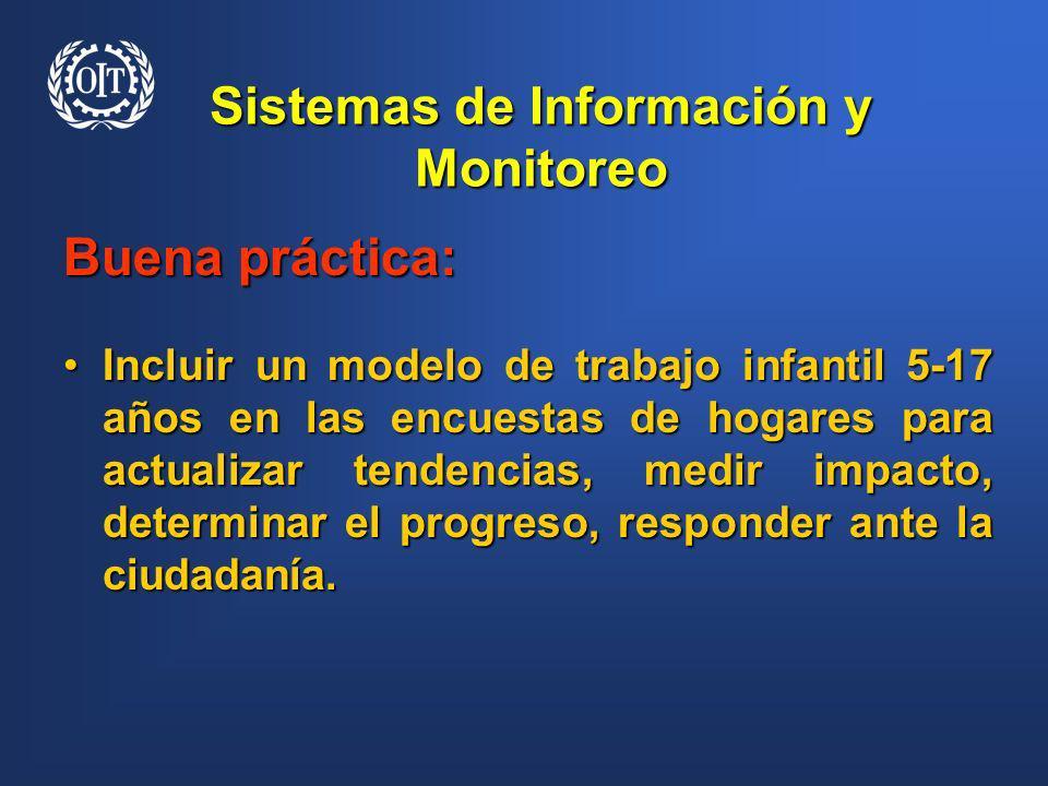 Sistemas de Información y Monitoreo Buena práctica: Incluir un modelo de trabajo infantil 5-17 años en las encuestas de hogares para actualizar tenden