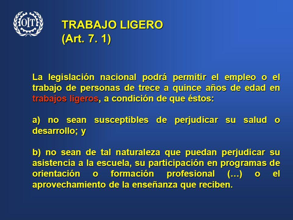 TRABAJO LIGERO (Art. 7. 1) La legislación nacional podrá permitir el empleo o el trabajo de personas de trece a quince años de edad en trabajos ligero