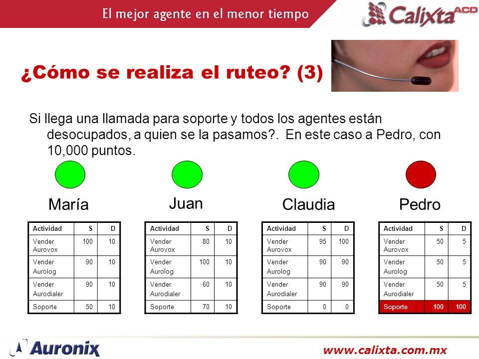 www.calixta.com.mx ¿Cómo se realiza el ruteo? (3) Si llega una llamada para soporte y todos los agentes están desocupados, a quien se la pasamos?. En