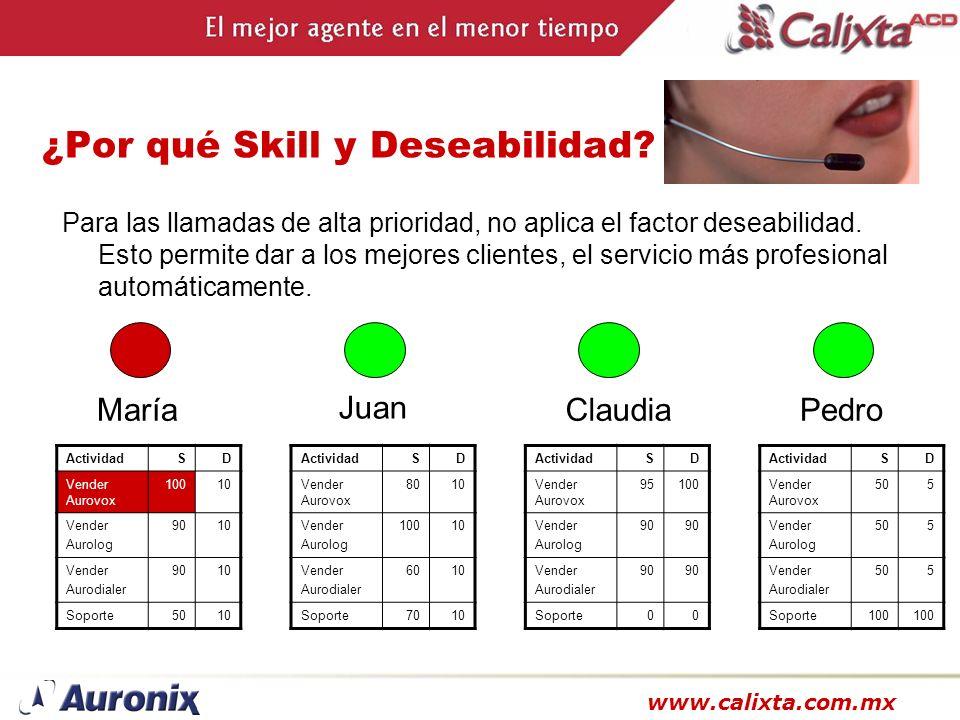 www.calixta.com.mx ¿Por qué Skill y Deseabilidad? Para las llamadas de alta prioridad, no aplica el factor deseabilidad. Esto permite dar a los mejore
