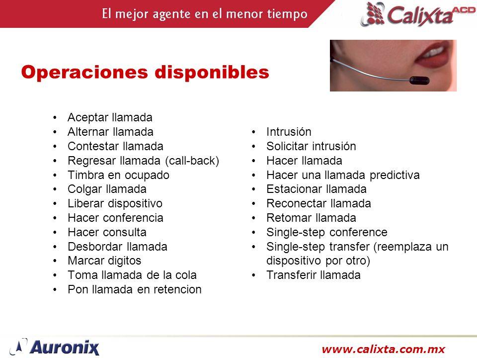 www.calixta.com.mx Operaciones disponibles Aceptar llamada Alternar llamada Contestar llamada Regresar llamada (call-back) Timbra en ocupado Colgar ll