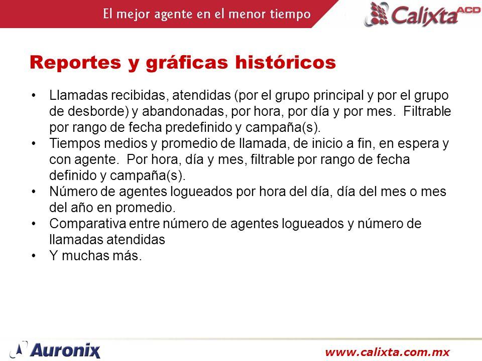 www.calixta.com.mx Reportes y gráficas históricos Llamadas recibidas, atendidas (por el grupo principal y por el grupo de desborde) y abandonadas, por