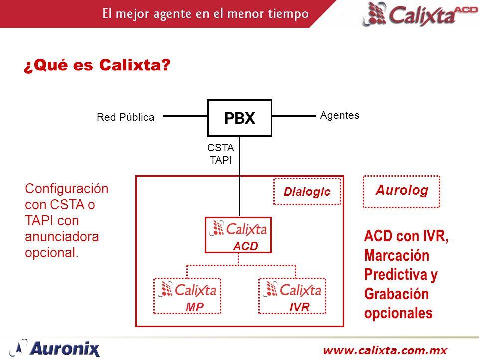www.calixta.com.mx ¿Qué es Calixta? Aurolog ACD MPIVR Dialogic PBX CSTA TAPI Agentes Red Pública ACD con IVR, Marcación Predictiva y Grabación opciona