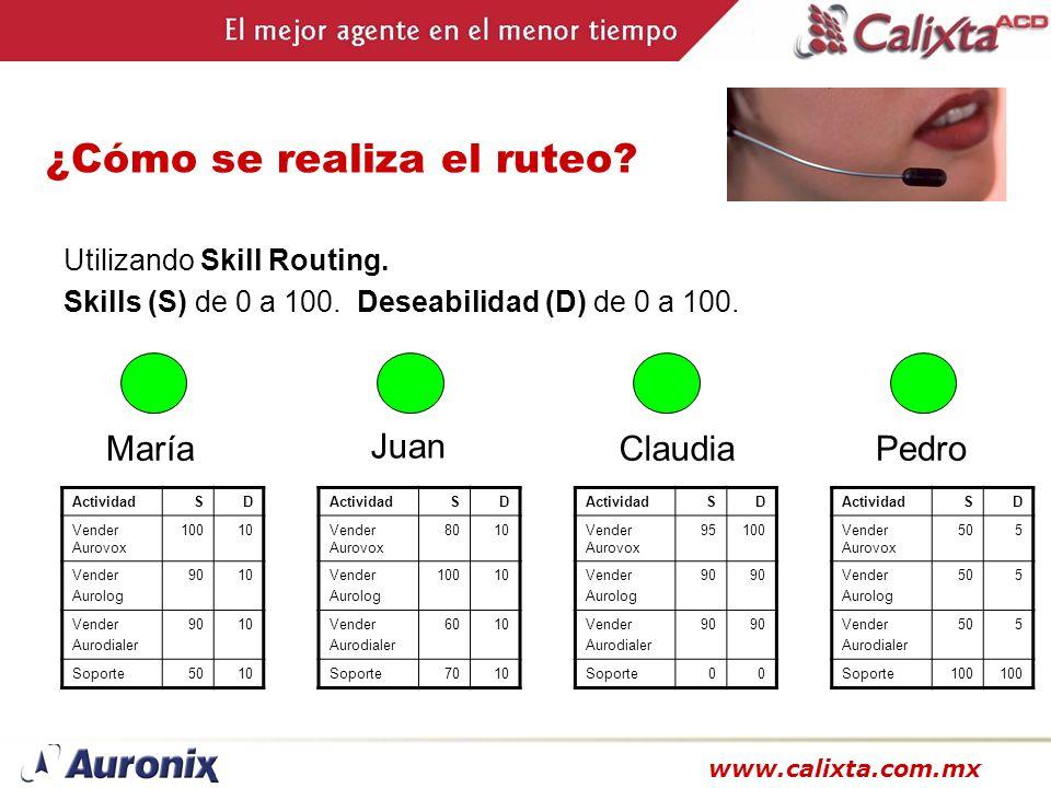 www.calixta.com.mx ¿Cómo se realiza el ruteo? Utilizando Skill Routing. Skills (S) de 0 a 100. Deseabilidad (D) de 0 a 100. María ActividadSD Vender A