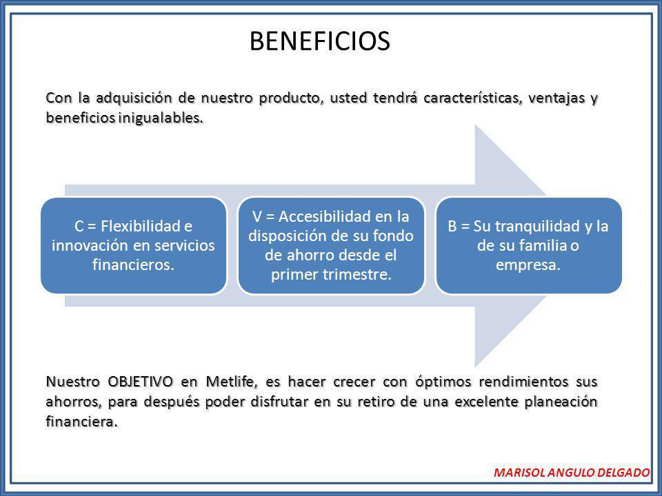 BENEFICIOS MARISOL ANGULO DELGADO Con la adquisición de nuestro producto, usted tendrá características, ventajas y beneficios inigualables. C = Flexib