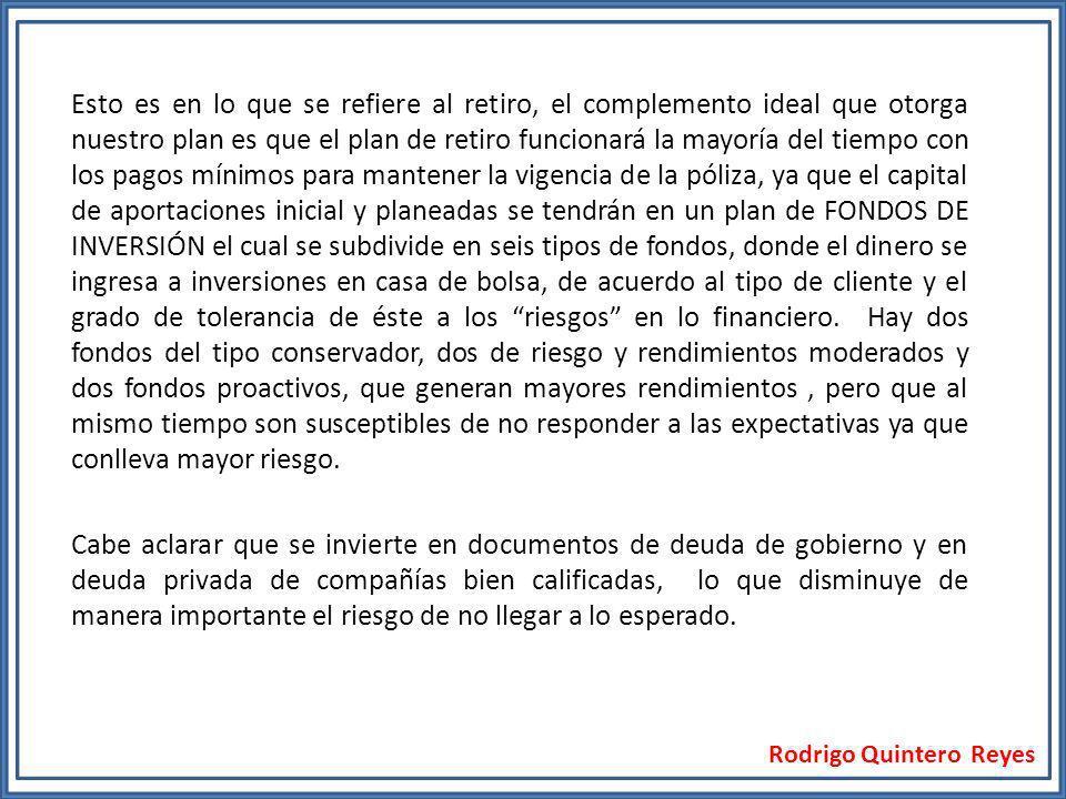 Rodrigo Quintero Reyes Esto es en lo que se refiere al retiro, el complemento ideal que otorga nuestro plan es que el plan de retiro funcionará la may