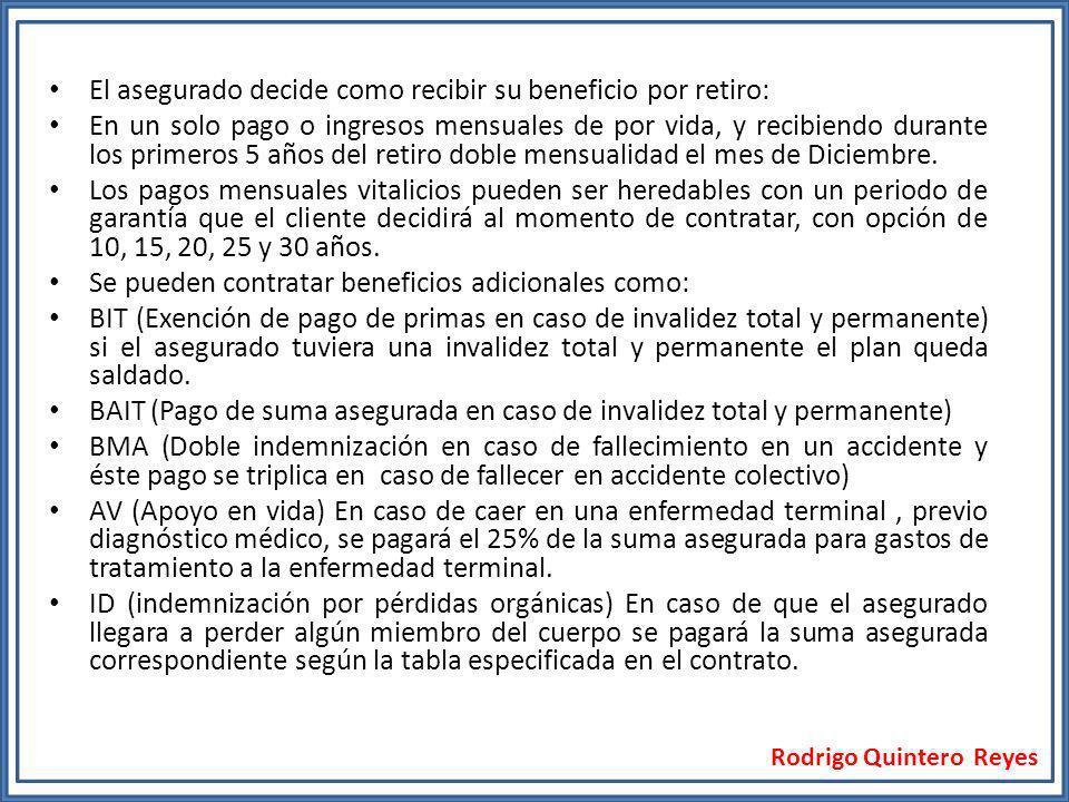Rodrigo Quintero Reyes El asegurado decide como recibir su beneficio por retiro: En un solo pago o ingresos mensuales de por vida, y recibiendo durant