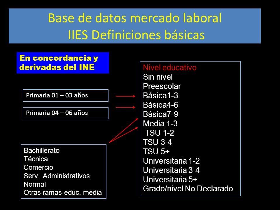 Base de datos mercado laboral IIES Definiciones básicas Nivel educativo Sin nivel Preescolar Básica1-3 Básica4-6 Básica7-9 Media 1-3 TSU 1-2 TSU 3-4 T