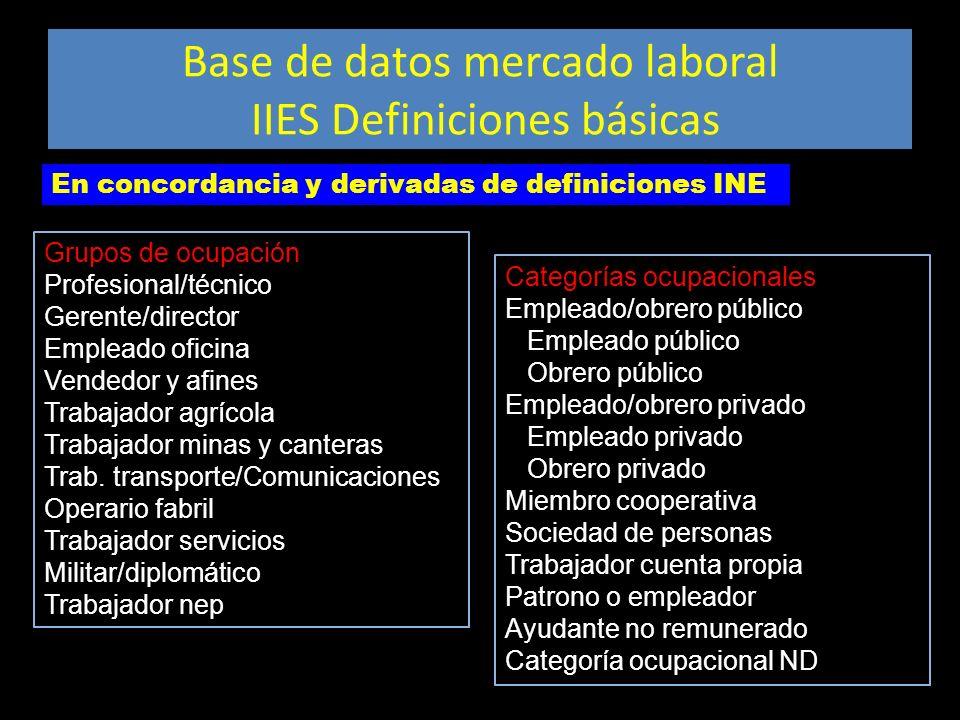 Base de datos mercado laboral IIES Definiciones básicas Categorías ocupacionales Empleado/obrero público Empleado público Obrero público Empleado/obre