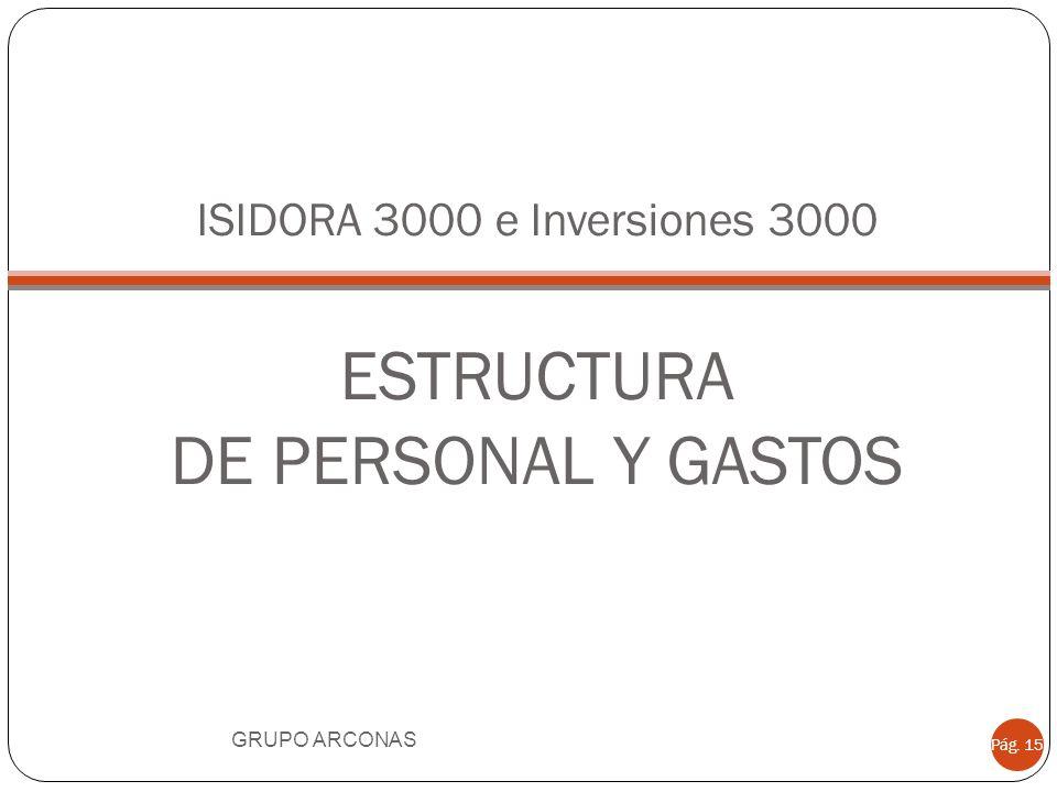 ISIDORA 3000 e Inversiones 3000 ESTRUCTURA DE PERSONAL Y GASTOS GRUPO ARCONAS Pág. 15