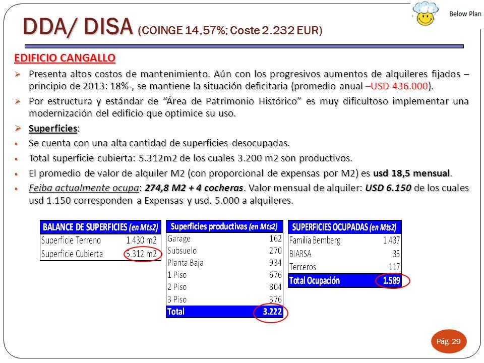 Pág. 29 DDA/ DISA ( DDA/ DISA (COINGE 14,57%; Coste 2.232 EUR) EDIFICIO CANGALLO Presenta altos costos de mantenimiento. Aún con los progresivos aumen