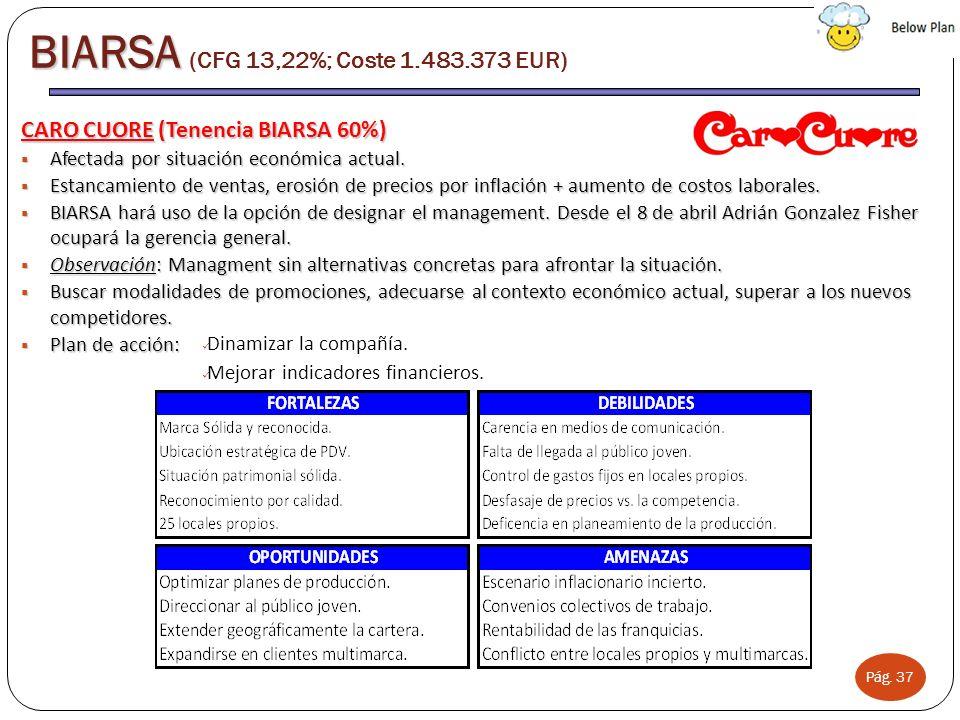 Pág. 37 BIARSA BIARSA (CFG 13,22%; Coste 1.483.373 EUR) CARO CUORE (Tenencia BIARSA 60%) Afectada por situación económica actual. Afectada por situaci
