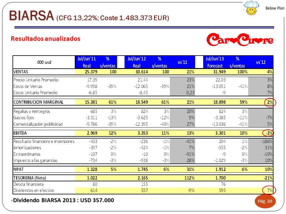 Pág. 38 Resultados anualizados Dividendo BIARSA 2013 : USD 357.000 Dividendo BIARSA 2013 : USD 357.000 BIARSA BIARSA (CFG 13,22%; Coste 1.483.373 EUR)
