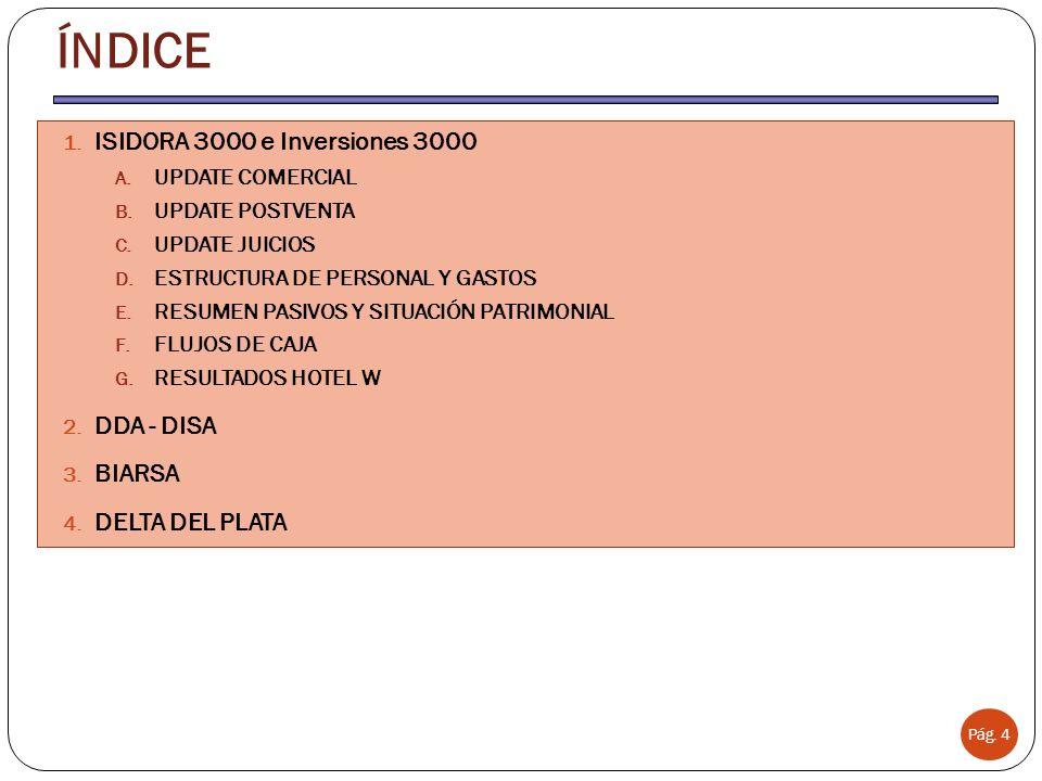 Pág. 4 ÍNDICE 1. ISIDORA 3000 e Inversiones 3000 A. UPDATE COMERCIAL B. UPDATE POSTVENTA C. UPDATE JUICIOS D. ESTRUCTURA DE PERSONAL Y GASTOS E. RESUM