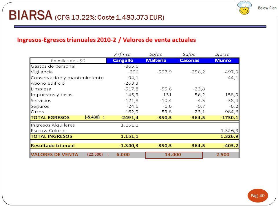 Pág. 40 Ingresos-Egresos trianuales 2010-2 / Valores de venta actuales BIARSA BIARSA (CFG 13,22%; Coste 1.483.373 EUR) (-5.430) : (22.500) :