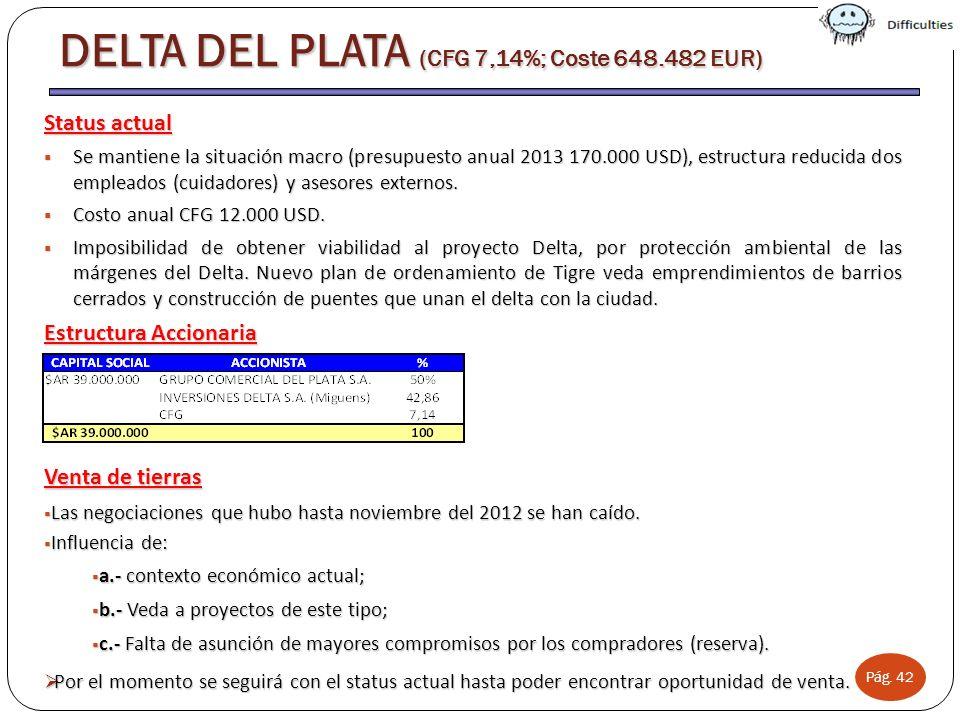 Pág. 42 DELTA DEL PLATA (CFG 7,14%; Coste 648.482 EUR) Status actual Se mantiene la situación macro (presupuesto anual 2013 170.000 USD), estructura r