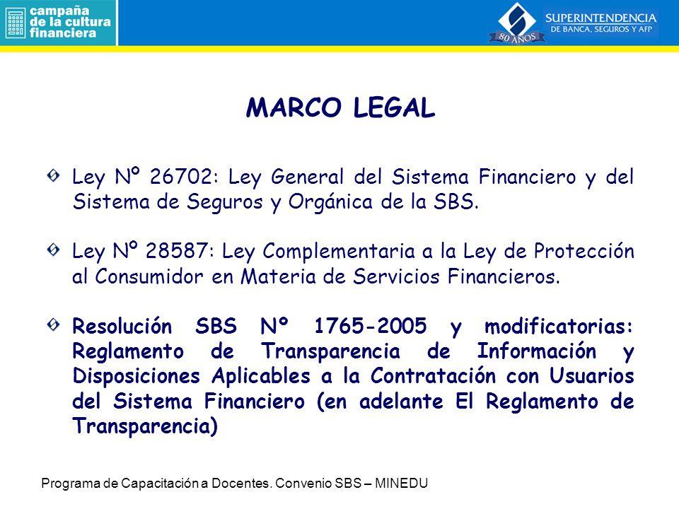 6. Transparencia de Información en los Sistemas Supervisados (Sesión 9) Programa de Capacitación a Docentes. Convenio SBS – MINEDU