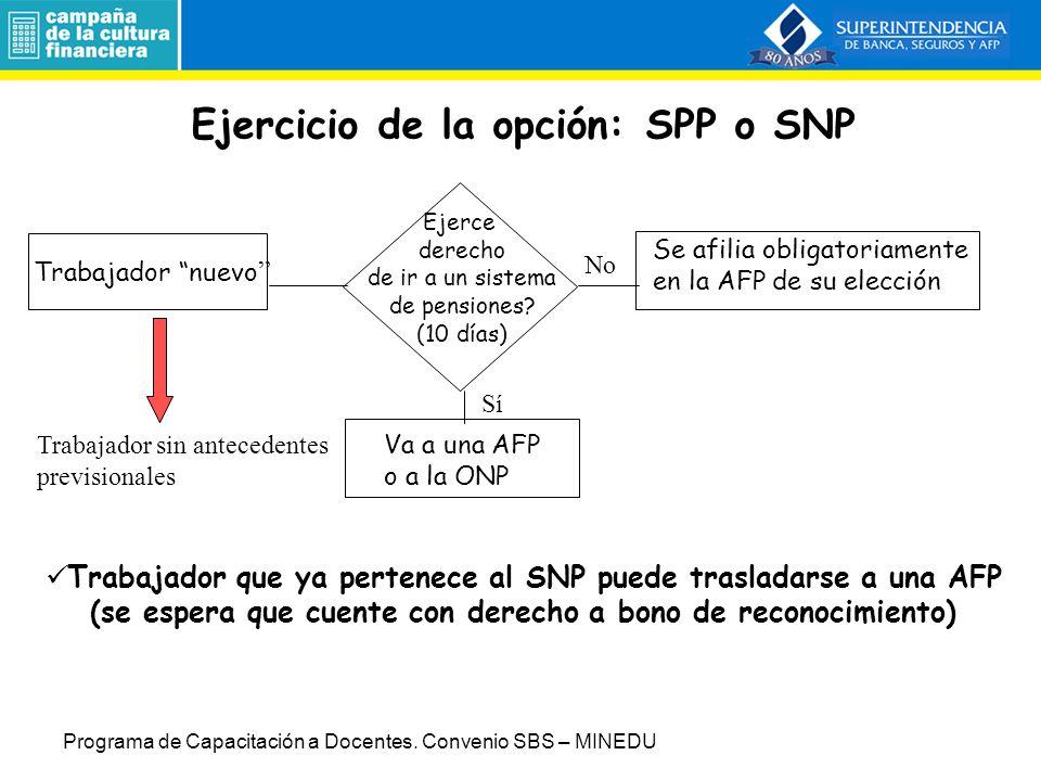 Diseño específico Sistema alternativo al SNP Bono de Reconocimiento: tránsito del SNP al SPP Aportes mensuales: Aporte al fondo de pensiones del afiliado (10% de la remuneración) + prima de invalidez, sobrevivencia y gastos de sepelio (% remuneración) + comisión de la AFP (% remuneración).