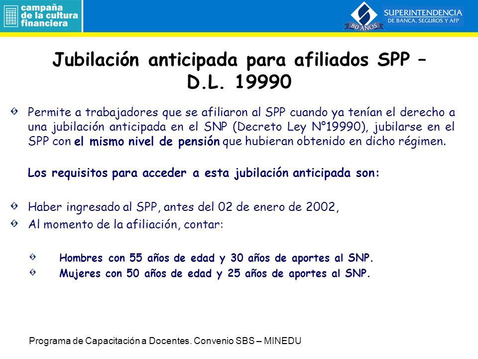 SPP: Cambios en la regulación Ley Nº 27617: Pensión mínima en el SPP Régimen de jubilación anticipada para trabajadores desempleados (REJ) Jubilación anticipada afiliados SPP - DL 19990 D.S.