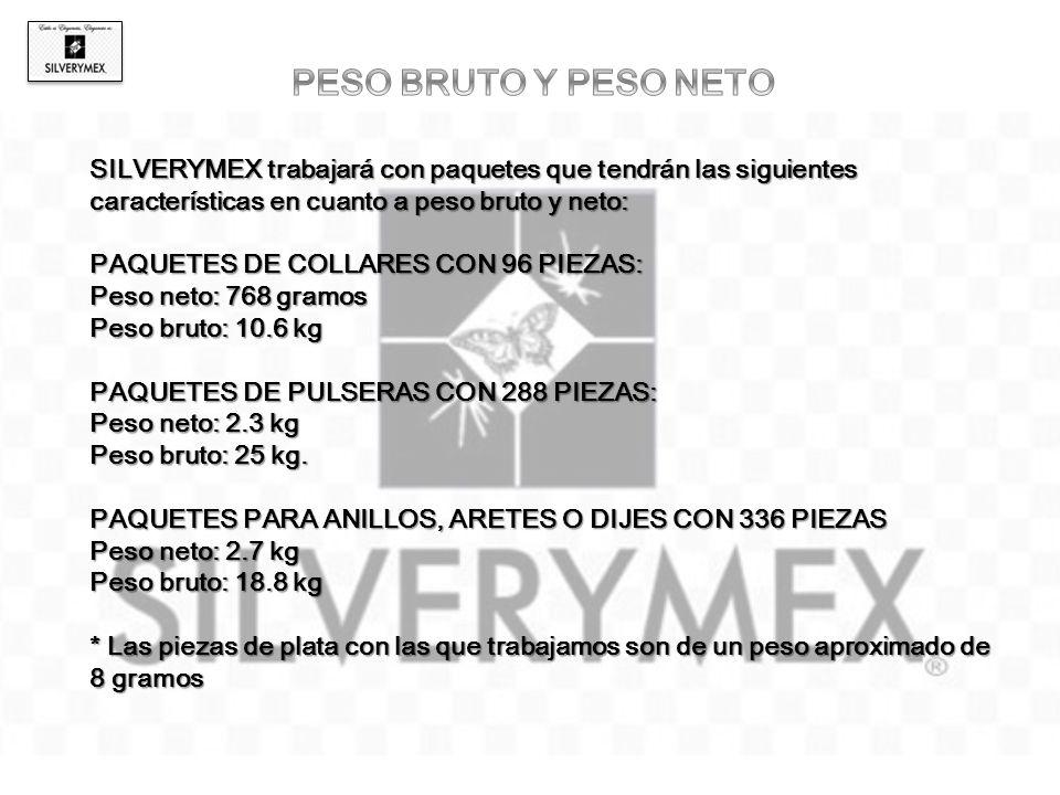 SILVERYMEX trabajará con paquetes que tendrán las siguientes características en cuanto a peso bruto y neto: PAQUETES DE COLLARES CON 96 PIEZAS: Peso n