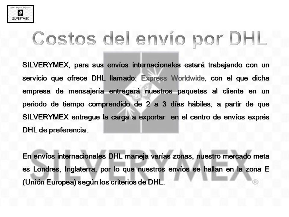 SILVERYMEX, para sus envíos internacionales estará trabajando con un servicio que ofrece DHL llamado: Express Worldwide, con el que dicha empresa de m
