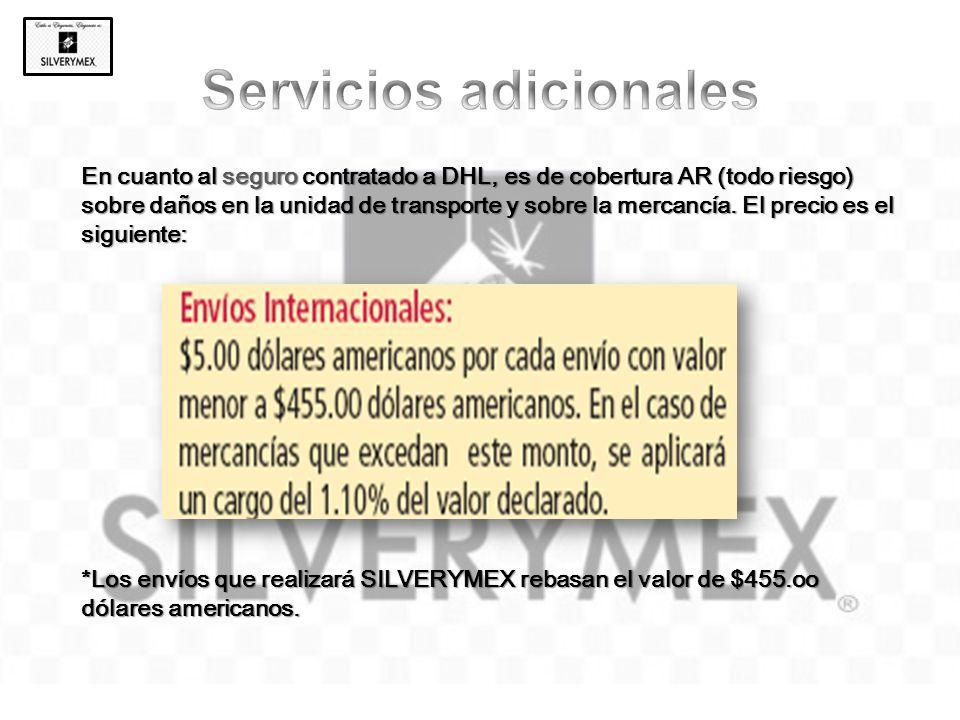 En cuanto al seguro contratado a DHL, es de cobertura AR (todo riesgo) sobre daños en la unidad de transporte y sobre la mercancía. El precio es el si