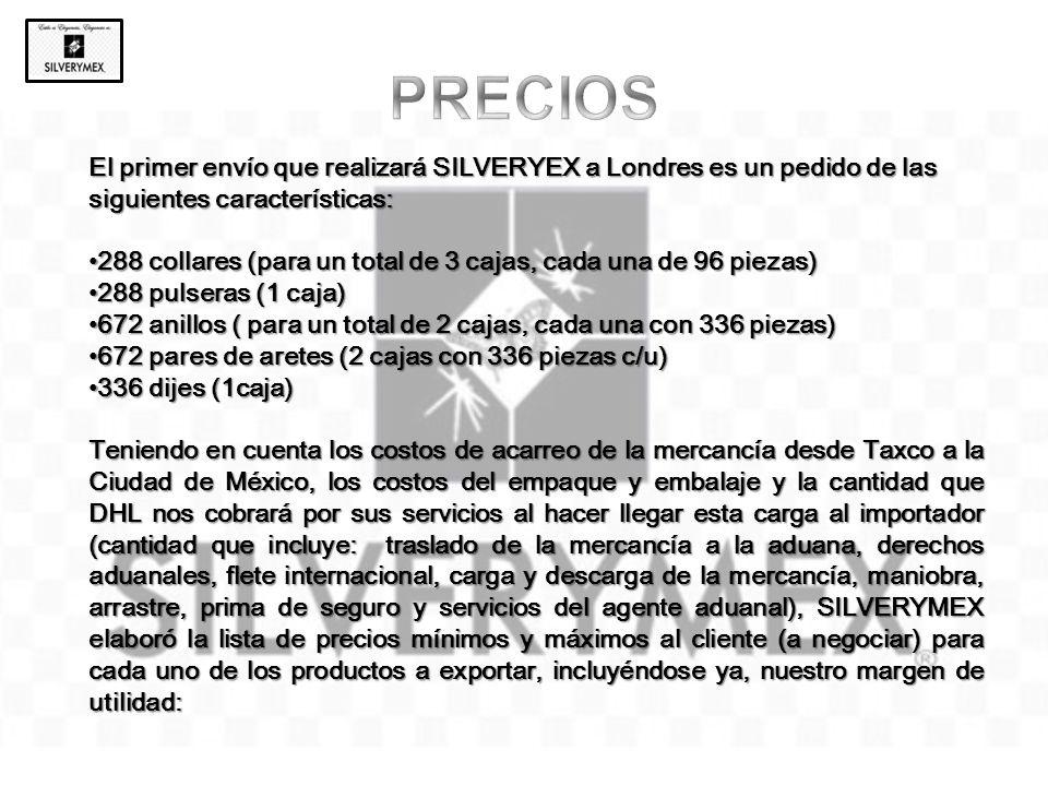 El primer envío que realizará SILVERYEX a Londres es un pedido de las siguientes características: 288 collares (para un total de 3 cajas, cada una de