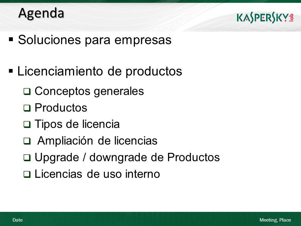 Date Meeting, Place Licenciamiento de Productos El upgrade de producto implica un mayor número de licencias Solución: Asumiendo que el cliente necesita más licencias (mínimo 5), se le ofertan 25 licencias Kaspersky Business Space por el tiempo restante hasta la expiración de la licencia (1 de enero de 2012) 25 licencias Business Space Tipo Base en el escalado correspondiente (25-49) por 9 meses Resta de la cuantía no amortizada del producto (9 meses) Upgrade a KBSS licencia Base 1 año: 25 x 27,52=688 PVP sin IVA 688 /12 meses=57,33 x 9 meses=515,97 PVP sin IVA 451,6 /12 meses=37,63 x 9 meses=338,69 PVP sin IVA 415,97 - 338,69=177,28 Total upgrade KBSS= 177,28 PVP sin IVA