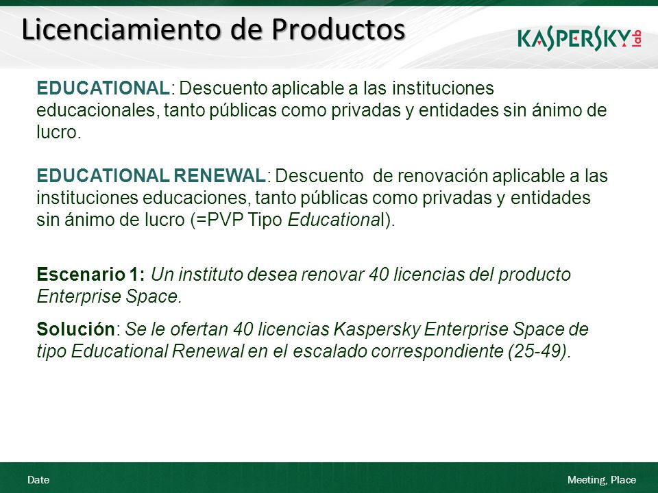 Date Meeting, Place Licenciamiento de Productos EDUCATIONAL: Descuento aplicable a las instituciones educacionales, tanto públicas como privadas y ent