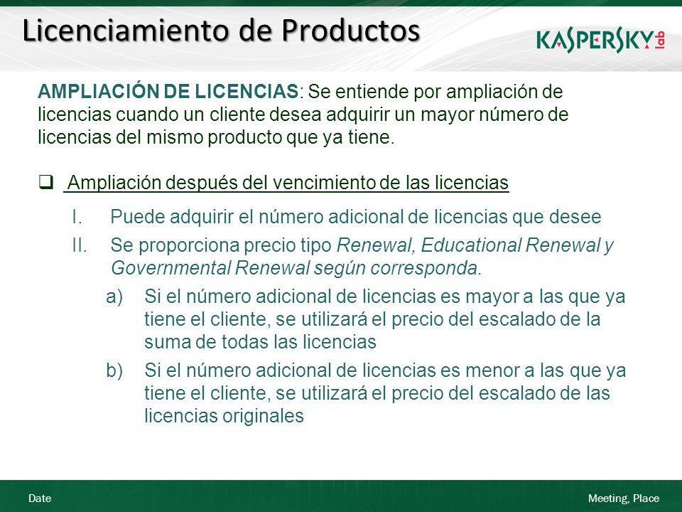 Date Meeting, Place Licenciamiento de Productos AMPLIACIÓN DE LICENCIAS: Se entiende por ampliación de licencias cuando un cliente desea adquirir un m