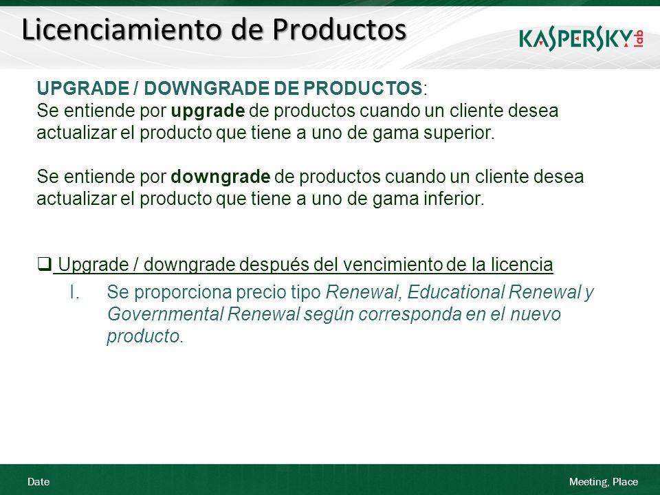 Date Meeting, Place Licenciamiento de Productos UPGRADE / DOWNGRADE DE PRODUCTOS: Se entiende por upgrade de productos cuando un cliente desea actuali