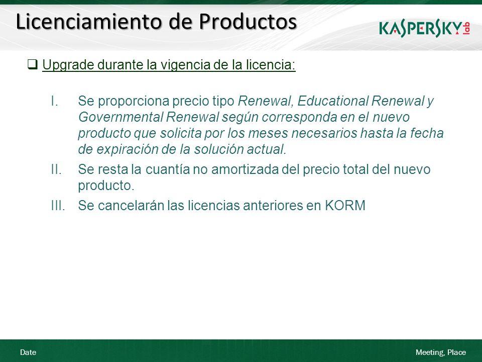Date Meeting, Place Licenciamiento de Productos Upgrade durante la vigencia de la licencia: I.Se proporciona precio tipo Renewal, Educational Renewal