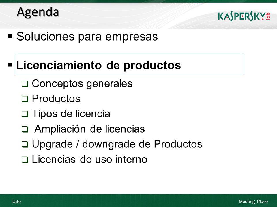Date Meeting, Place Licenciamiento de Productos Escenario 3: Un cliente desea renovar 40 licencias del producto Enterprise Space y adquirir 50 adicionales.