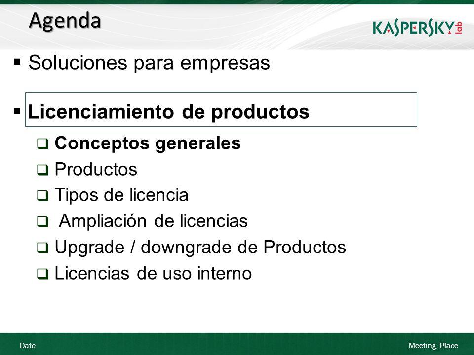 Date Meeting, Place Número mínimo de licencias: 10 licencias Tiempo mínimo de adquisición: 1 año Los precios para pedidos superiores a 499 se solicitan al departamento de Kaspersky Lab Licencias NFR: Podrán ser generadas por el mayorista en KORM con autorización de Kaspersky Lab Licencias TRIAL: Podrán ser generadas por el mayorista en KORM En la Lista de Precios se muestra el precio unitario de cada producto (PVP sin IVA) Licenciamiento de Productos