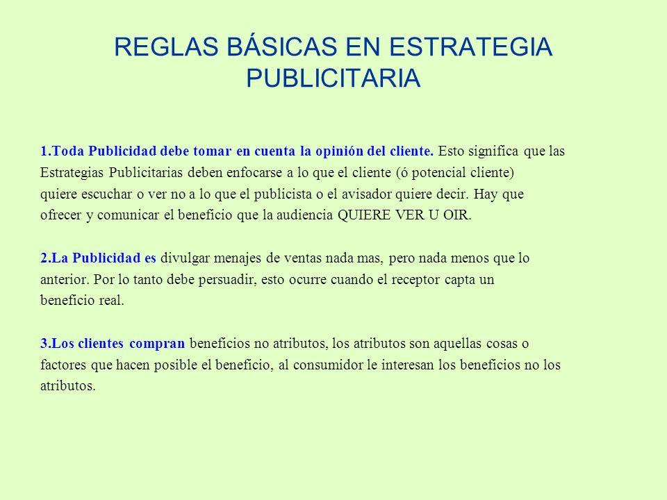 REGLAS BÁSICAS EN ESTRATEGIA PUBLICITARIA 1.Toda Publicidad debe tomar en cuenta la opinión del cliente. Esto significa que las Estrategias Publicitar