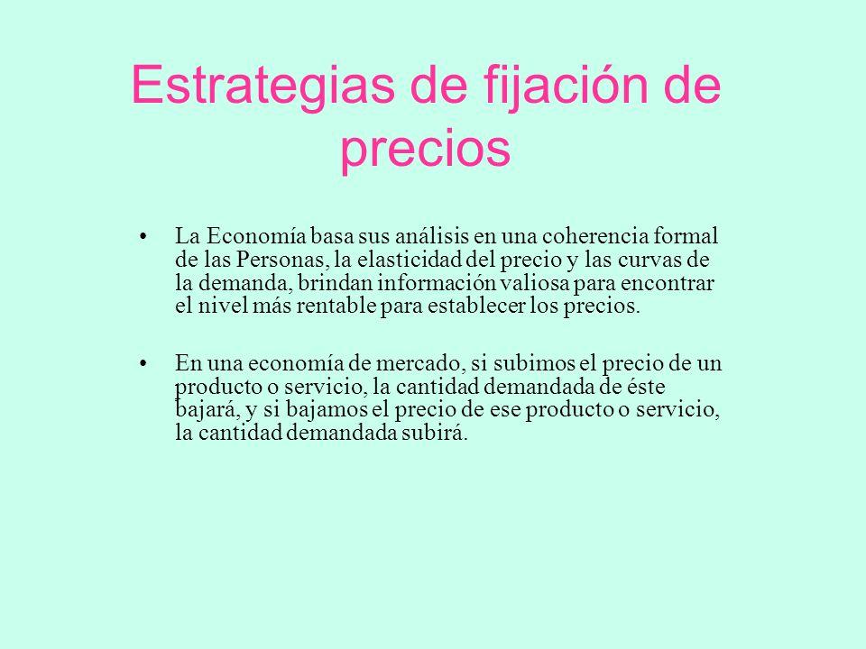 Estrategias de fijación de precios La Economía basa sus análisis en una coherencia formal de las Personas, la elasticidad del precio y las curvas de l