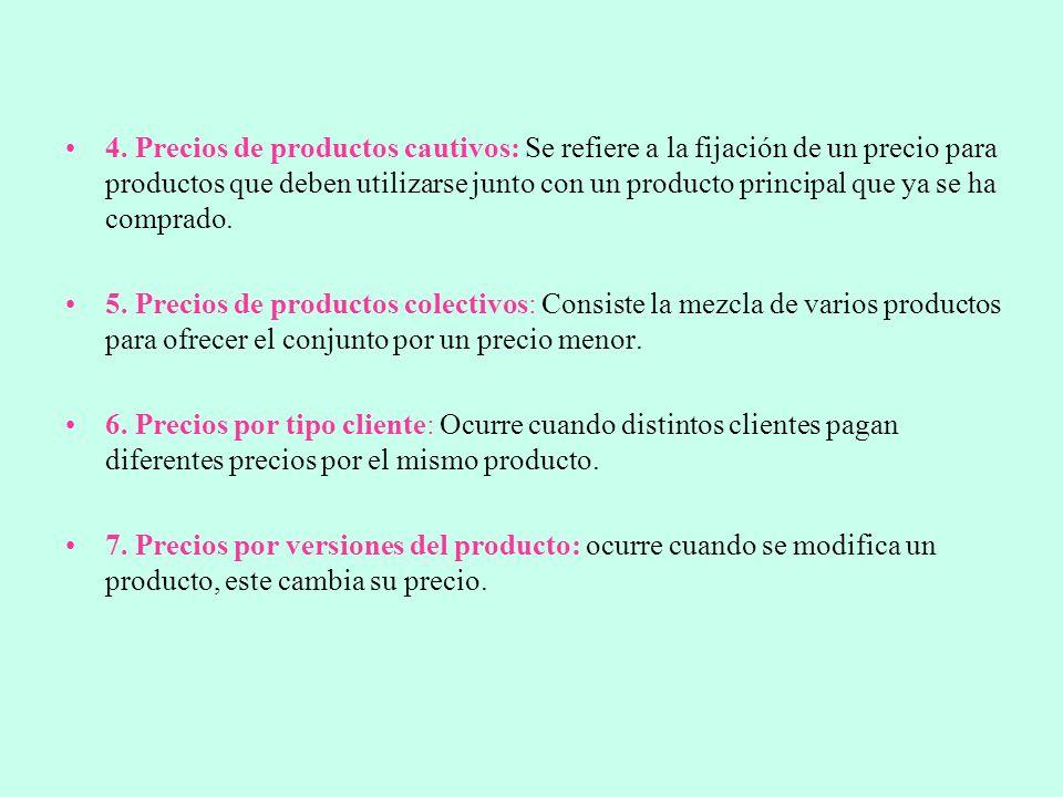 4. Precios de productos cautivos: Se refiere a la fijación de un precio para productos que deben utilizarse junto con un producto principal que ya se