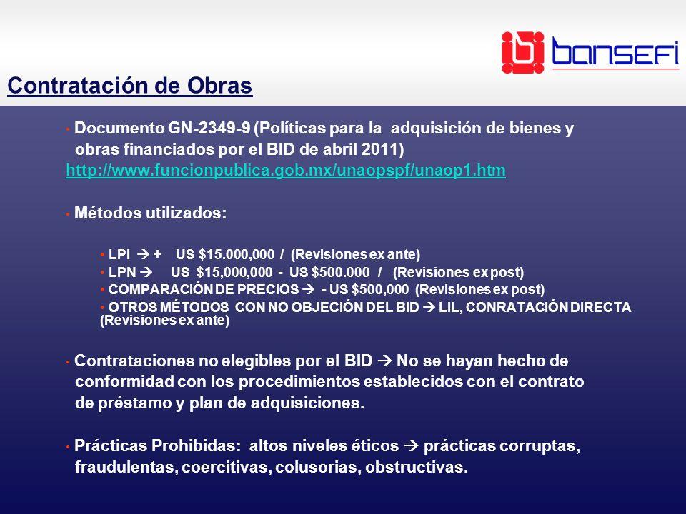 Contratación de Obras Documento GN-2349-9 (Políticas para la adquisición de bienes y obras financiados por el BID de abril 2011) http://www.funcionpub
