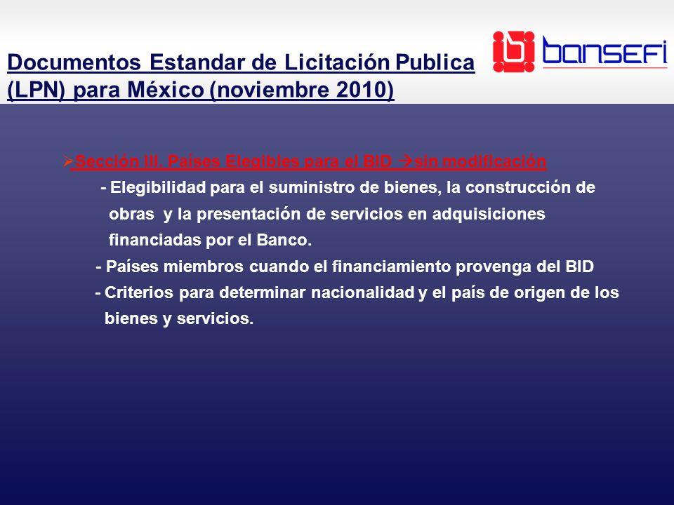 Sección III. Países Elegibles para el BID sin modificación - Elegibilidad para el suministro de bienes, la construcción de obras y la presentación de